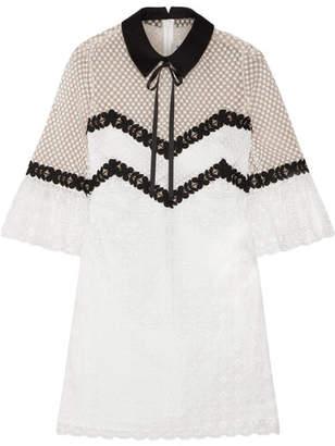 Self-Portrait - Guipure Lace Mini Dress - Black $445 thestylecure.com