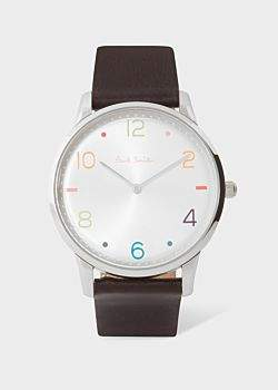 Paul Smith Men's Silver And Brown 'Slim' Artist Stripe Watch