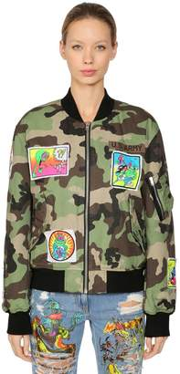 Jeremy Scott Camo Print Cotton Bomber Jacket