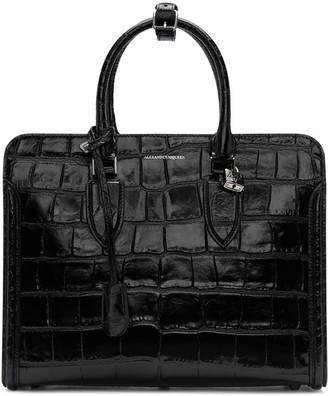 Alexander McQueen Black Croc-Embossed Heroine Tote $2,295 thestylecure.com
