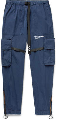 Off-White Tapered Webbing-Trimmed Cotton-Blend Cargo Trousers