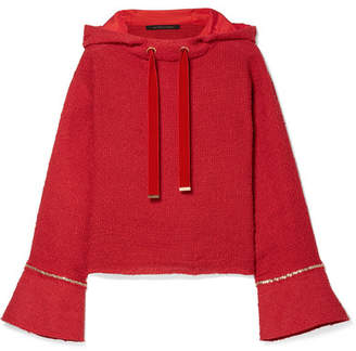 Mother of Pearl Max Chain-trimmed Cotton-tweed Hooded Sweatshirt - Red