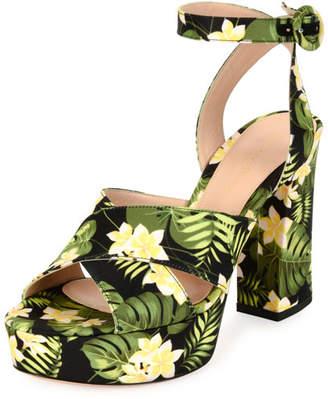 Gianvito Rossi Floral-Print Platform Sandal, Mustard