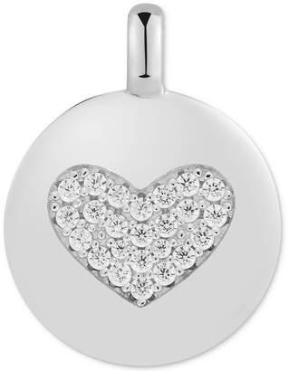"Swarovski Charmbar Zirconia Heart ""Love Always"" Reversible Disc Pendant in Sterling Silver"