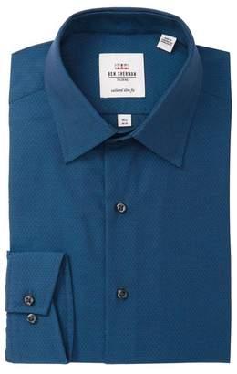 Ben Sherman Iridescent Solid Diamond Tailored Slim Fit Dress Shirt