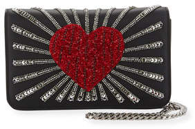 Les Petits Joueurs Ginny Heart Leather Shoulder Bag, Black