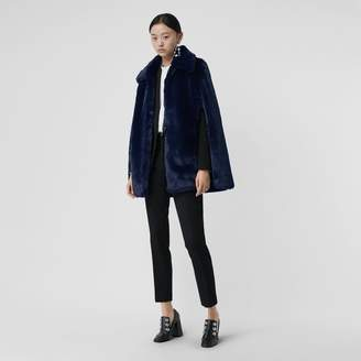 Burberry Faux Fur Cape , Size: M/L, Blue