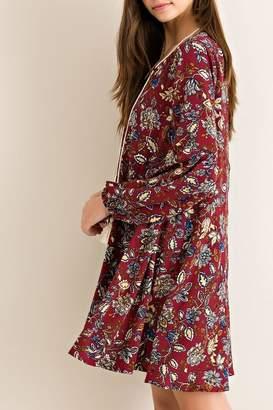 Entro Burgundy Floral-Print Dress