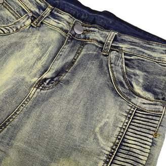 Sunrain New Denim Trousers Elastic Jeans Trendy Designed Straight Slim Fit Jeans Pant Bronze Size of 30