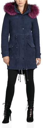 BAGATELLE.CITY Fur Trim Hooded Suede Parka