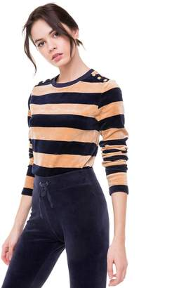 Juicy Couture Striped Stretch Velour Top