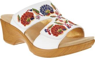 Alegria Embroidered Leather Slip-on Wedge Sandals - Linn