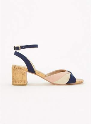 Evans Extra Wide Fit Navy Blue Ruched Cork Block Heel Sandals