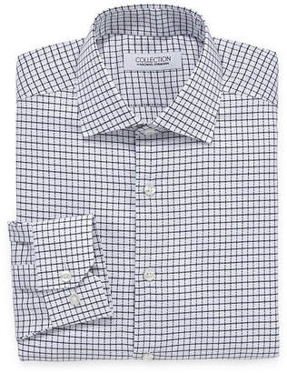 COLLECTION Collection by Michael Strahan Wrinkle Free Cotton Stretch Big And Tall Long Sleeve Woven Grid Dress Shirt