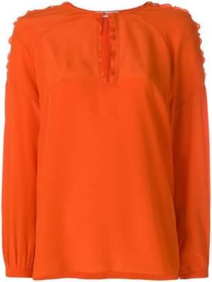 Schumacher Dorothee lace up shoulder blouse