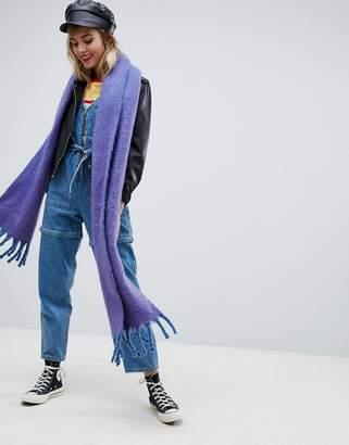 Asos DESIGN bright fluffy tassel scarf