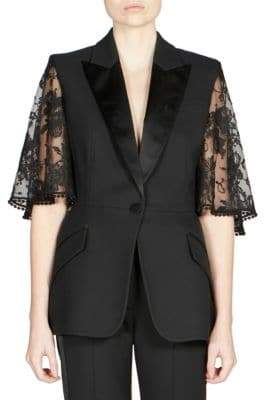 Alexander McQueen Lace Cape Sleeve Jacket
