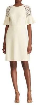 Lauren Ralph Lauren Lace-Trim Crepe Dress