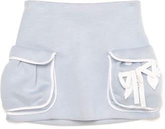 Fendi (フェンディ) - FENDI リボンモチーフ ビッグポケット スカート グレーブルー 6a