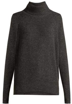 Nili Lotan Anitra Ribbed Roll Neck Wool Blend Sweater - Womens - Grey