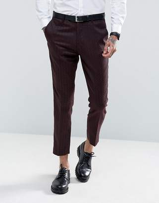Gianni Feraud Skinny Fit Burgundy Geometric Print Cropped Suit Trousers