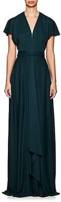 Zac Posen Women's Crepe Flutter Sleeve Gown