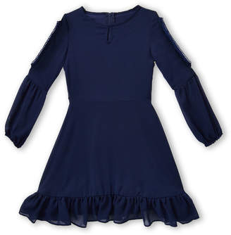 Blush by Us Angels Girls 7-16) Navy Cold Shoulder Chiffon Dress