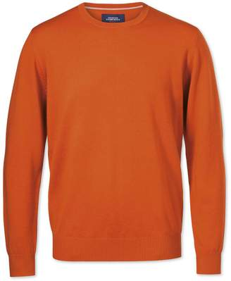 Charles Tyrwhitt Orange Merino Crew Neck Wool Sweater Size Large