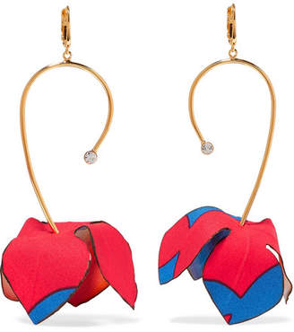 Marni Gold-tone, Cotton-canvas And Crystal Earrings - Red