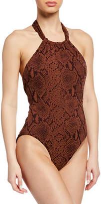 Mara Hoffman Dominique Snake-Print Halter One-Piece Swimsuit