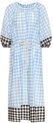 Lee Mathews Gingham cotton and silk dress