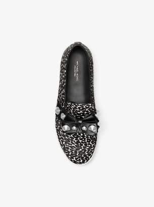 Michael Kors Val Studded Leopard Calf Hair Slip-On Sneaker