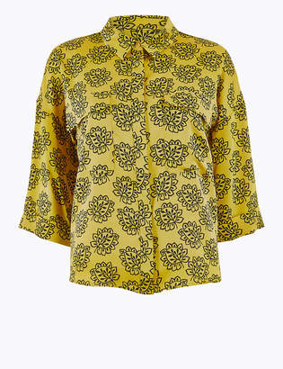 Marks and Spencer Printed Satin Oversized Shirt