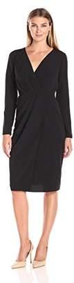 Lark & Ro Women's Satin Soft Pleated Deep V-Neck Dress