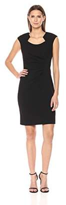 Calvin Klein Women's Cap Sleeved Sheath with Horseshoe Neckline Dress