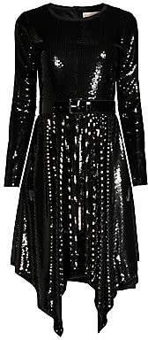 MICHAEL Michael Kors Women's Sequin Handkerchief-Hem Dress