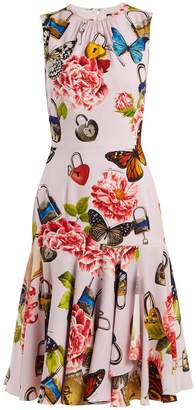 Dolce & Gabbana Butterfly and padlock-print stretch-silk dress