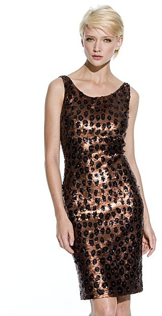 Carmen Marc Valvo Collection Leopard Sequin Sheath Dress