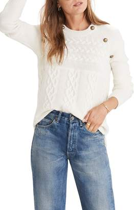 Madewell Button Detail Cable Knit Pullover Sweater