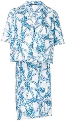 Rokh rope print asymmetric shirt