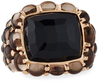 Mimi Milano 18k Black Agate & Smoky Quartz Ring