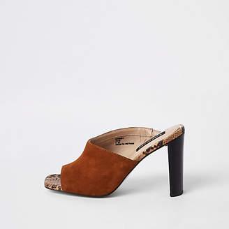 River Island Light brown asymmetric heeled mules