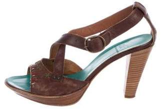 Alberto Fermani Leather Crossover Sandals