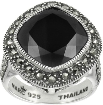 ING Suspicion Sterling Marcasite Cushion Cut Onyx Ring