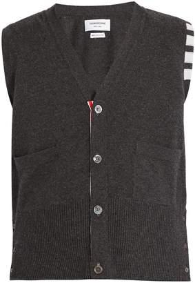 Thom Browne V-neck cashmere sleeveless cardigan