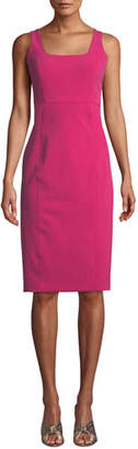 Veronica Beard Cattleya Square-Neck Sleeveless Sheath Dress
