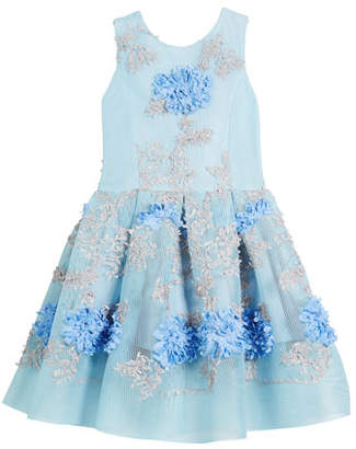 Zoe Perforated Mesh Flower-Embroidered Dress, Size 2-6X