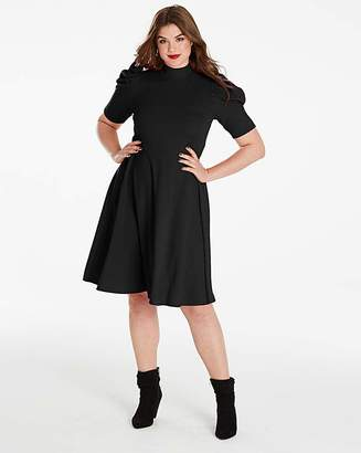 Fashion World Simply Be Ruched Sleeve Skater Dress