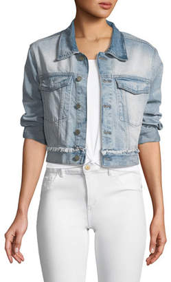 DL1961 Premium Denim Shawn Button-Front Cropped Denim Boyfriend Jacket