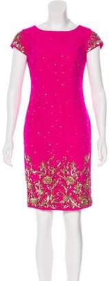 Marchesa Sequined Knee-Length Dress Fuchsia Sequined Knee-Length Dress